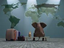 Viaggio dell'elefante e del cane Immagini Stock