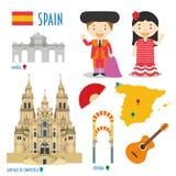 Viaggio dell'icona piana della Spagna e concetto stabiliti di turismo Fotografia Stock Libera da Diritti