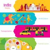 Viaggio dell'India, insieme dell'insegna Immagini Stock