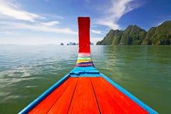 Viaggio della baia di Phang Nga sul crogiolo di coda lunga Fotografie Stock