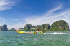 Viaggio della baia di Phang Nga sul crogiolo di coda lunga Immagine Stock Libera da Diritti