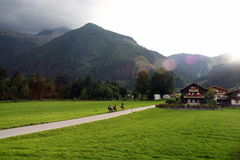 Viaggio della bici di montagna della montagna Fotografie Stock Libere da Diritti