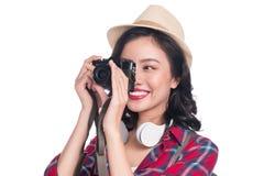 Viaggio della donna Giovane bello viaggiatore asiatico della donna che prende pictur Fotografia Stock Libera da Diritti