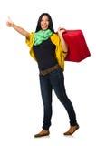 Viaggio della donna isolato su bianco Immagine Stock