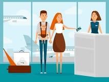 Viaggio della famiglia in aereo con il neonato per la prima volta I genitori con il bambino infantile fare il check-in per il vol illustrazione vettoriale