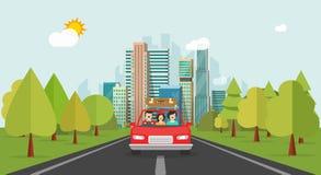 Viaggio della famiglia in macchina, famiglia felice di stile piano del fumetto con il bambino che viaggia insieme via il vettore  Fotografie Stock