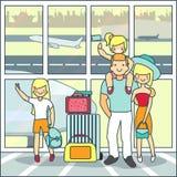 Viaggio della famiglia tramite l'illustrazione di vettore dell'aria nello stile piano illustrazione di stock