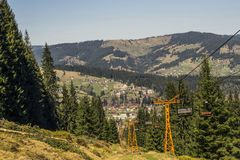 Viaggio della montagna in Vatra Dornei, Romania Immagini Stock
