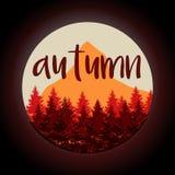 Viaggio della natura di autunno Alberi e montagna Illustrazione di vettore Immagini Stock