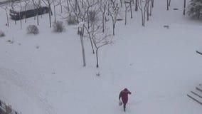 Viaggio della neve leggera stock footage