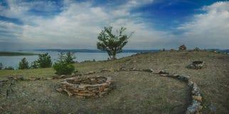 Viaggio della Siberia di panorama del paesaggio di Baikal fotografia stock