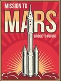 Viaggio dello spazio cosmico al fondo di Marte Manifesto dell'annata di vettore di progetto di avventura dell'universo illustrazione di stock