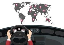 Viaggio di automobile con la mappa ed i perni di mondo sulle destinazioni illustrazione di stock