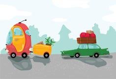 Viaggio di automobili con molti bagagli Fotografia Stock