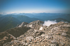 Viaggio di estate del cielo blu di Rocky Mountains Landscape Fotografia Stock Libera da Diritti