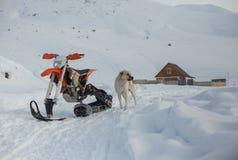 Viaggio di gatto delle nevi dello snowbike di enduro con la bici della sporcizia alta nelle montagne Immagini Stock Libere da Diritti