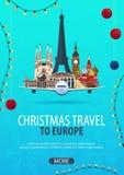 Viaggio di Natale ad Europa Neve e rocce della barca Illustrazione di vettore illustrazione vettoriale