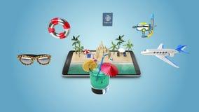 Viaggio di piallatura alle vacanze estive, giro online di accesso mobile illustrazione vettoriale