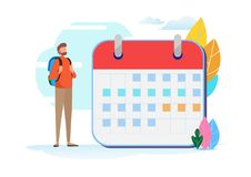 Viaggio di piano di festa Programma di viaggio Calendario, vacanza, turismo, viaggiatore con zaino e sacco a pelo Vettore miniatu royalty illustrazione gratis