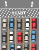 Viaggio di traffico di viaggio di inizio delle automobili Immagini Stock