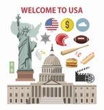Viaggio di U.S.A. o attrazioni turistiche dei punti di riferimento di vettore del modello del manifesto di benvenuto di turismo d Fotografia Stock Libera da Diritti