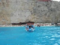 Viaggio di Zacinto del relitto della nave della spiaggia di Navagio Fotografia Stock Libera da Diritti