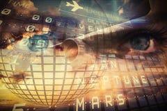 Viaggio e collage di turismo con gli occhi Immagine Stock Libera da Diritti