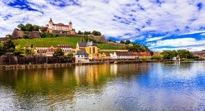 Viaggio e landmraks bella Wurzburg città della Germania - Immagini Stock Libere da Diritti
