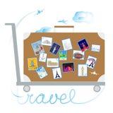 Viaggio e turismo Autoadesivi sulla valigia illustrazione vettoriale