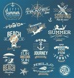 Viaggio ed emblemi e simboli di vacanza Immagini Stock Libere da Diritti