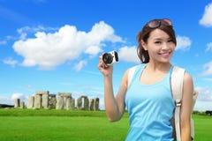Viaggio felice della donna in Inghilterra Immagine Stock Libera da Diritti