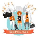 Viaggio felice della gente con musica Personaggi dei cartoni animati con le cuffie che ascoltano la musica Immagine Stock Libera da Diritti