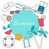 Viaggio, fondo di estate con l'aereo, palme, passaporto, biglietto, b Fotografia Stock Libera da Diritti