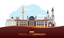 Viaggio in Germania, orizzonte di Berlin Poster Reichstag, porta di Brandeburgo Illustrazione di vettore Fotografie Stock