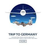 Viaggio in Germania, orizzonte di Berlin Poster Reichstag, porta di Brandeburgo Illustrazione di vettore Fotografia Stock Libera da Diritti