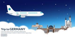 Viaggio in Germania, orizzonte di Berlin Poster Reichstag, porta di Brandeburgo Illustrazione di vettore Fotografie Stock Libere da Diritti