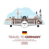 Viaggio in Germania, orizzonte di Berlin Poster Reichstag, porta di Brandeburgo Illustrazione di vettore Immagini Stock