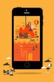 Viaggio grafico di informazioni di stile di concetto dello Smart Phone Fotografia Stock