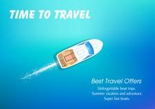 Viaggio in imbarcazione a motore Vacanza di estate corsa del powerboat royalty illustrazione gratis