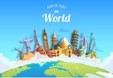 Viaggio intorno ai punti di riferimento di progettazione del fondo di concetto del mondo ed alla destinazione turistica illustrazione vettoriale