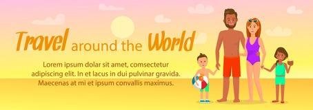 Viaggio intorno al mondo che segna la disposizione con lettere dell'insegna illustrazione di stock