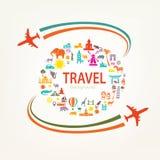 Viaggio intorno al mondo, icone delle siluette dei punti di riferimento Immagine Stock