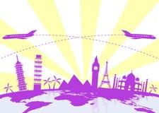 Viaggio intorno al mondo, icone delle siluette dei punti di riferimento messe Fotografie Stock Libere da Diritti