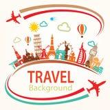 Viaggio intorno al mondo, icone delle siluette dei punti di riferimento messe Fotografia Stock Libera da Diritti