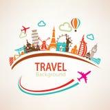 Viaggio intorno al mondo, siluette dei punti di riferimento Fotografie Stock Libere da Diritti