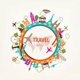 Viaggio intorno al mondo, siluette dei punti di riferimento Immagine Stock Libera da Diritti