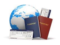 Viaggio intorno al mondo. Terra, biglietti di linea aerea e passaporto. 3d Immagine Stock