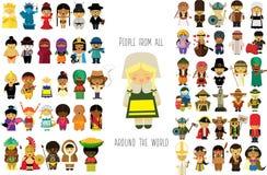 Viaggio intorno alla gente del mondo tutt'intorno dal mondo illustrazione vettoriale