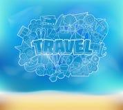 Viaggio - iscrizione della mano e schizzo degli elementi di scarabocchi su una spiaggia B Illustrazione di Stock