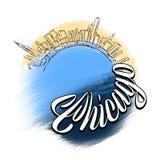 Viaggio Logo Sketch di Chicago Immagini Stock